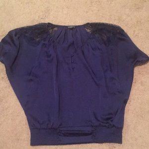 Express blue silk top